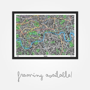 Image of Hand Drawn Map of London (Framed)