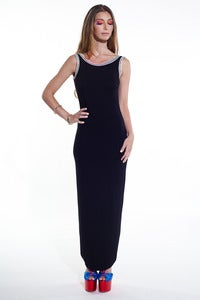 Image of Backless Long Dress w/ multi neon edging