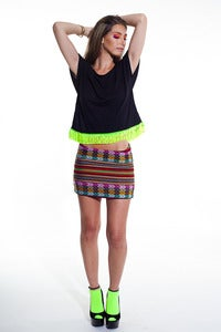 Image of Inca Mini Skirt (Multi Black)