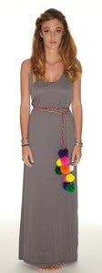 Image of Maxi Dress Grey w/ pom pom belt