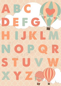 Image of Hot Air Balloon Childrens Alphabet Art Poster Print Chart