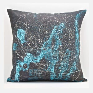 "Image of Vintage SUMMER STARS OVER THE BAY Map Pillow, Made to Order 18"" x18"" Cover"