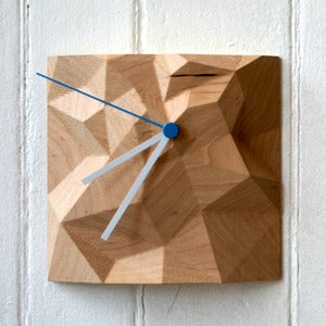 "Image of Maple 6"" x 6"" Block Clock"