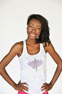 Image of yoga tree pose - burnout racerback tank top - white
