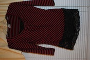 Image of S red and black striped shirt with lace