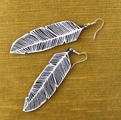 Image of Screen Printed Leather Earrings-Black and Silver Feather