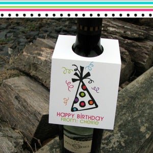 Image of Happy Birthday Personalized Wine Tags
