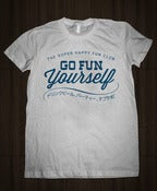 Image of Go Fun Yourself Shirt - Blue on Grey