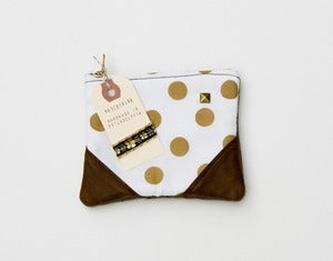 Image of -SOLD OUT- a small caramel + white dots zipper pouch with leather corners and a METAL zipper