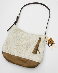 Image of --S O L D-- vintage lace + leather two-tone shoulder bag (a)