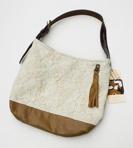 Image of -- S O L D -- vintage lace + leather two-tone shoulder bag (b)
