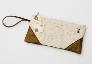 Image of -SOLD OUT- vintage lace wristlet with brown leather corners