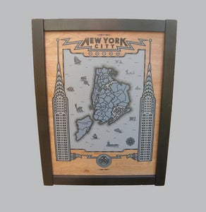 Image of new york city map - framed