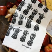 Image of  Moka Express tea towel - Black (as seen on Nigellissima)