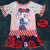 Image of **SOLD OUT** Minnie Mouse Patriotic Popcicle Dress - size 3/4/5T