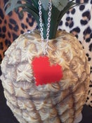 Image of Red Laser Cut Acrylic Pixellated Heart Necklace