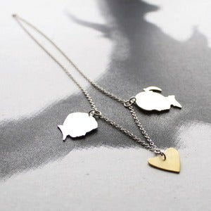 Image of Custom Made Silhouette Charms+Heart Necklace