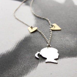 Image of Custom Made Silhouette Charm + 2 Hearts Necklace
