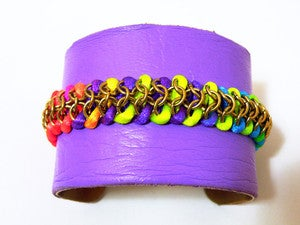 Image of Neon and Purple Leather Cuff