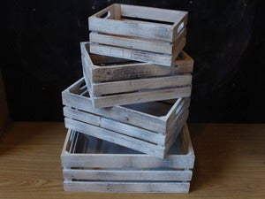 Image of White Wash Wooden Crates