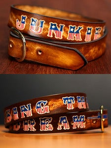 "Image of 1 1/2"" Personalized Name Leather Belt with American Flag Letters"