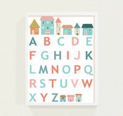 Image of Petite French Houses Childrens Alphabet Chart Poster Print