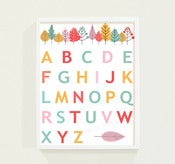 Image of 50% OFF!! Childrens Alphabet Chart Poster Print Fall Autumn Leaves 