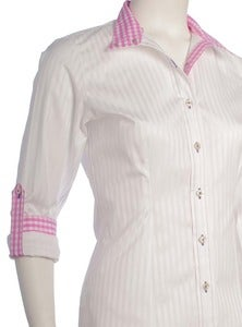 Image of White Stripe / Bubblegum Pink Check / Violet 