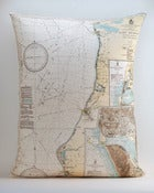 "Image of Vintage LAKE MI COAST, FRANKFORT Map Pillow, Made to Order 16""x20"" Cover"