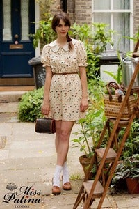 Image of Ice Cream Scoop Scalloped Edge Dress (Cream Heart Print)
