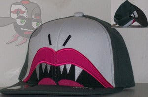 "Image of I'MTD ""Lovely Fang"" Gray/White Snapback Hat Cap"