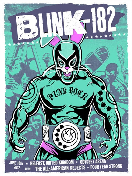 Image of Blink 182 - 18 x 24 screen printed tour poster