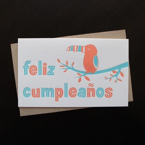 Image of 1219 - spanish toucan letterpress birthday card // feliz cumpleaños