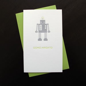 Image of 1101B - mr. roboto letterpress domo arigato card // thank you - set of 6