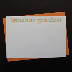 Image of 1107B - spanish letterpress thanks // muchas gracias - set of 6