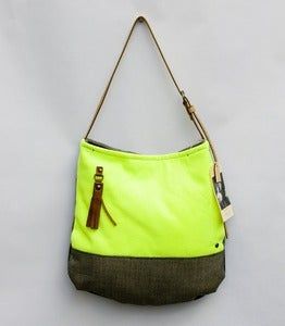 Image of --S O L D-- neon yellow + pavement grey two-tone shoulder bag (b)