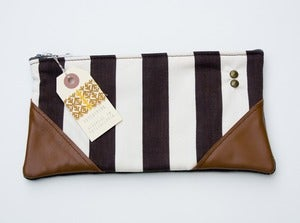 Image of -SOLD OUT- a chocolate+vanilla striped zipper clutch with leather corners