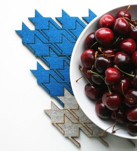 Image of eco-friendly houndstooth table tiles - blue