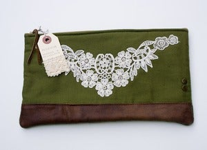 Image of --S O L D-- ONE OF A KIND! zip clutch with vintage lace applique and leather bottom (b)