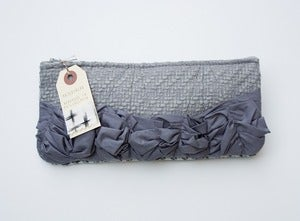 Image of -S O L D-  a roundy-bottomed tough ruffles zipper purse in two shades of grey (b)