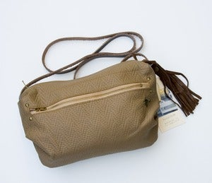 Image of one of a kind! ALL LEATHER small crossbody bag in toasted almond