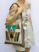 Image of --S O L D-- large shoulder bag with hand cut geometric leather appliques (b)
