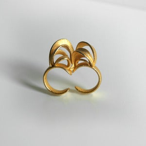 Image of Ribbon Double Ring Gold