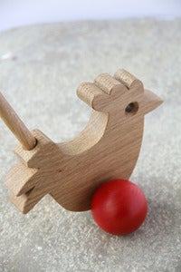 Image of Solid Oak Push-along Cockerel