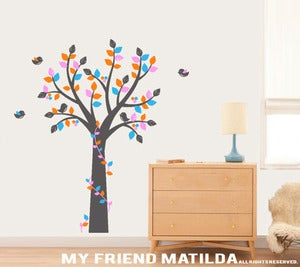 Image of M004 Tree with Ribbon Vine Wall Decal Tree Wall Sticker Kids Nursery Bedroom