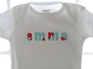 Image of Appliqud name onesie or shirt