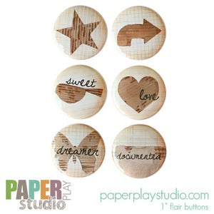 Image of Cardboard Cuts - Set of 6 flair buttons
