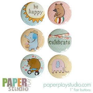 Image of Animals on Parade - Set of 6 flair buttons