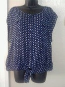 Image of Blue Polka Dot Top 2X