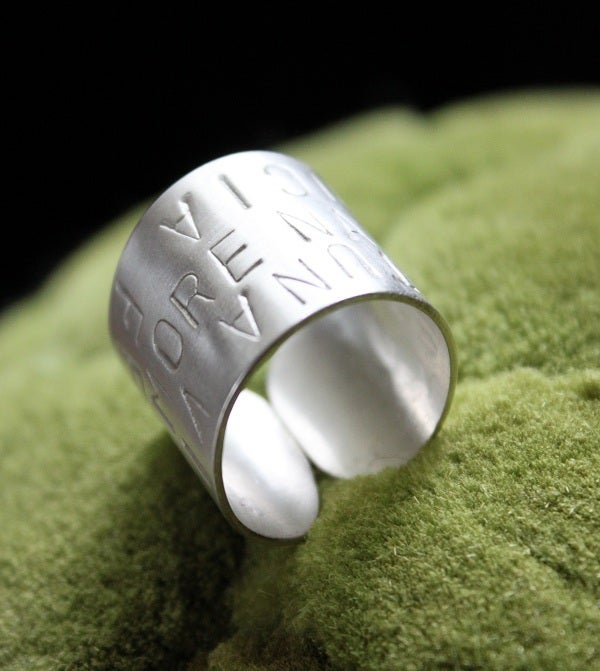 "Image of Sterling Silver ""Italian Words"" Ring"